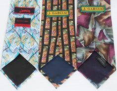 Jerry J Garcia Lot Of 3 100% Silk Abstract Floral Blocks Megalith Ties Necktie  #JGarcia #NeckTie