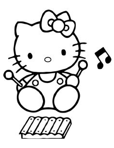 Hello Kitty Coloring Pages Cheerleader Kids Pinterest