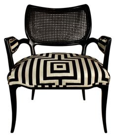 HOLLYWOOD REGENCY BLACK LACQUERED CHAIR WITH GEOMETRIC HICKS STYLE FABRIC
