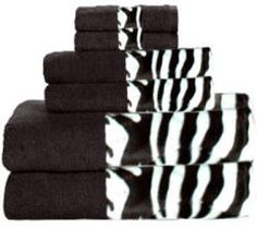 Zebra towelssss-Wish jer would let me animal print the bathroom!