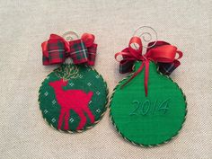 Needlepoint Reindeer Ornament With Bows & monogram ~ canvas by Whimsy & Grace