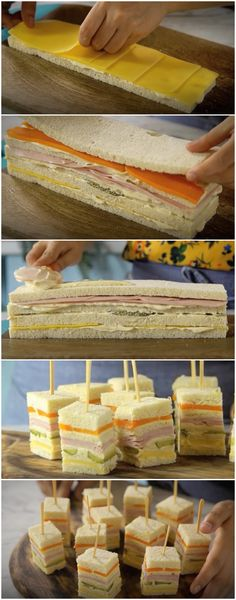 ideas for party snacks finger foods tea sandwiches Mini Sandwiches, Finger Sandwiches, Mini Sandwich Appetizers, Sandwich Recipes, Tasty, Yummy Food, Party Buffet, Food Platters, Meat Trays