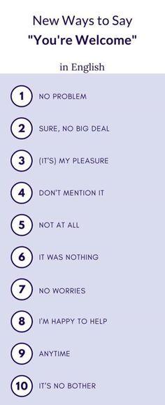 """Способы сказать """"не за что"""" в ответ на """"спасибо"""" #english #vocabulary #youarewelcome"""