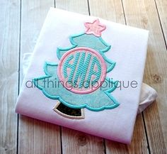 Christmas Tree Monogram Circle Applique - 3 Sizes! | What's New | Machine Embroidery Designs | SWAKembroidery.com All Things Applique