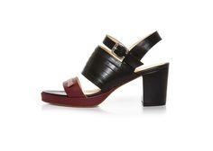 Terhi Pölkki - AMANDA SANDAL - BLACK / RED Black Sandals, Heeled Mules, Amanda, Heels, Red, Image, Design, Fashion, Black Flat Sandals