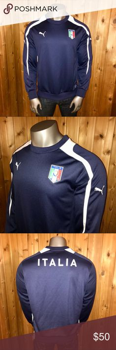 NWT! Official Puma Italy/Italia Men's Sweater Brand New With Tags!  Size: U.S. Men's Large Color: Navy Blue/White Official Puma Dry Cell Technology Official Licensed Product of the Italian Football/Soccer Federation 100% Polyester Regular Fit Made in Cambodia  Sweater comes from a smoke and pet free home  Thanks for looking! Puma Sweaters Crewneck