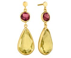 Symmetry: 18Kt Gold Earrings with P.Tourmaline and Lemon Quartz