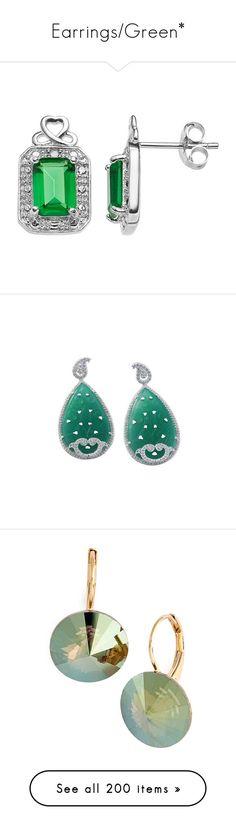 """Earrings/Green*"" by thesassystewart on Polyvore featuring jewelry, earrings, green, heart stud earrings, stud earrings, emerald cut earrings, emerald green earrings, gemstone earrings, clothing & accessories and drop"