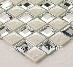 Quality TST crackle ceramic mosaic tile diamond cutting glass glitter mirror tile backsplash fireplace bathroom wall stickers with free worldwide shipping on AliExpress Mobile Ceramic Mosaic Tile, Mirror Mosaic, Mirror Tiles, Diy Mirror, Mosaic Glass, Wall Tiles, Glitter Mirror, Mirror Backsplash Kitchen, Glitter Tiles