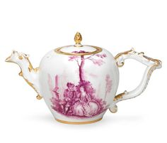 A Meissen teapot and cover, circa 1740-45