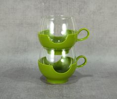 Retro Avocado Green Pyrex Drinkups Hot or Cold Beverage Roly Poly Glasses with Plastic Base