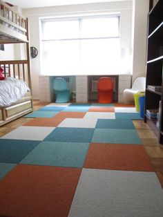 flor tiles in a kid's room. http://theorderobsessed.com/2012/06/26/carpet-tiles-make-this-kids-room/