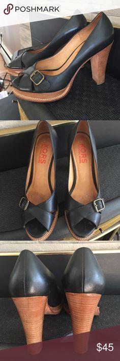 Michael Kors peep toe heels.  Beautiful black leather platform heels, stacked heel, some wear to soles very cute with bronze buckle. Michael Kors Shoes Heels