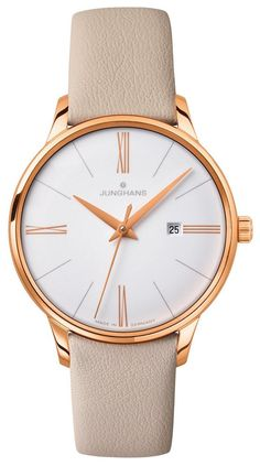 Junghans Meister Ladies White Dial Date Rose Gold PVD Made in Germany Swiss Quartz Women's Dress Watches, Junghans, Watch Photo, Luxury Jewelry, Quartz Watch, Lady, Gold Watch, Bracelet Watch, Rose Gold