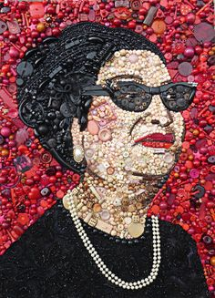 "Jane Perkins *Blue Bowerbird ""Umm Kulthum"" (Mixture of found objects) Mosaic Portrait, Egyptian Actress, Egypt Art, Smart Art, Found Object Art, Collage Making, Textile Fiber Art, Junk Art, Button Art"
