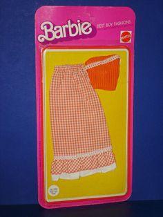 Barbie BEST BUY #9153 Orange Check Maxi-Skirt & Knit Top Fashion Mattel 1975 MOC #MattelBarbieDollOutfit
