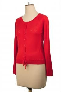 Bow Cardi, Available in Tangerine, Fejoa and Black $229 #winterstyles #nzdesigner #cardigans