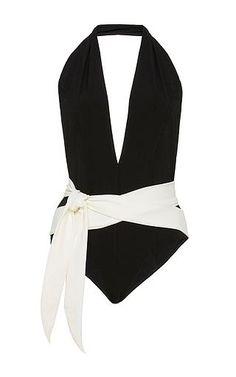 Riri two-tone halter-neck swimsuit by LISA MARIE FERNANDEZ Available Now on Moda Operandi