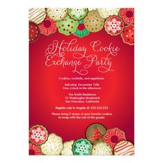 Shop Red Holiday Cookie Exchange Party Invitation created by thepapershoppe. Personalize it with photos & text or purchase as is! Holiday Party Invitation Template, Christmas Party Invitations, Cookie Exchange Party, Christmas Cookie Exchange, Christmas Party Decorations, Parties Decorations, Christmas Parties, Christmas Holiday, Christmas Ideas