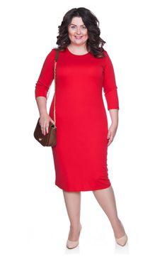 d908cd1541 Klasyczna czerwona sukienka wyszczuplająca - Modne Duże Rozmiary