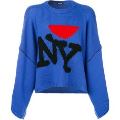 Raf Simons NY jumper (€755) ❤ liked on Polyvore featuring men's fashion, men's clothing, men's sweaters, blue, mens woolen sweaters, mens blue sweater and mens wool sweaters