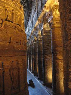 The great hall inside Ajanta Caves, Maharashtra, India (by Kumara Sastry).