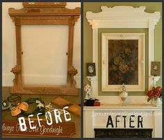 Old Mirror Frame.upcycled into a fabulous frame around a framed picture! Just paint out the old mirror frame old picture frame the same color and mount on the wall together. What a difference it makes in highlighting the picture! Decor, Dresser With Mirror, Redo Furniture, Painted Furniture, Picture Frames, Old Mirrors, Diy Wall, Mirror Frames, Frame