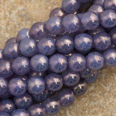 100 Czech 6mm Pressed Glass Round Milky Alexandrite Moon Dust Beads 22310MD