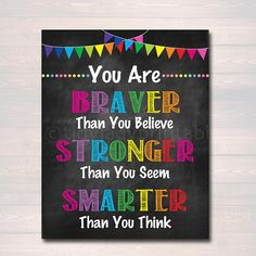 School Counselor Office Decor, Classroom Decor High School Classroom Poster, Braver Smart Stronger Than You Think, Self Esteem Printable Art – Decoration ideas School Counselor Office, School Guidance Counselor, High School Classroom, School Counseling, Classroom Decor, Classroom Teacher, Funny Classroom Posters, Hollywood Classroom, Counseling Office Decor
