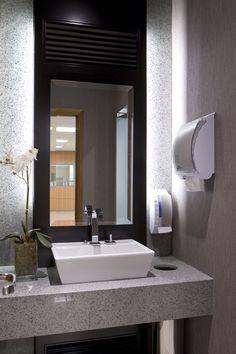 bathroom, cozier, darker option, still super modern, high end finishes