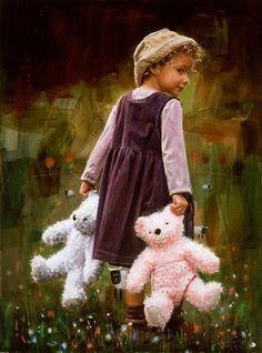 One for each hand, teddy bear friends. Little People, Little Ones, Little Girls, Precious Children, Beautiful Children, Cute Kids, Cute Babies, Kind Photo, Perfect Photo
