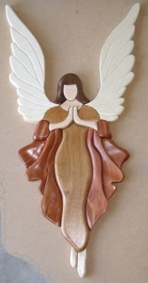 Intarsia Angel - Scroll Saw Woodworking & Crafts Photo Gallery - jola k - Intarsia Woodworking, Woodworking Logo, Woodworking Patterns, Easy Woodworking Projects, Woodworking Furniture, Fine Woodworking, Wood Projects, Woodworking Techniques, Woodworking Videos