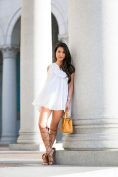 (via Gladiator Continues :: One shoulder dress & Tan sandals : Wendy's Lookbook)  #summer #style