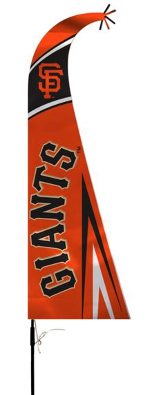 """This officially licensed feather shaped flag is silk screened with the college team logo and colors. The 44"""" flag is mounted on a 5 ft. pole that comes in 4 parts for easy storage and includes a groun"""