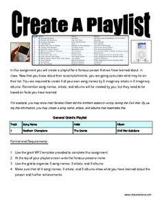 Ipod Playlist & Template: History or Reading Graphic Organizer - Tony Pavlovich Instructomania - TeachersPayTeachers.com
