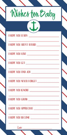"""Nautical """"Wishes For Baby"""" Print out made by me for my shower! They will be rolled up, tied in string, and placed in a bottle for """"messages in a bottle"""""""