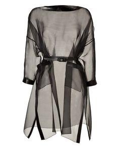 Валентино |  Черный шелк органза подпоясанный платье с кожаной отделкой |  лизатора