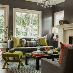 For our family room - I love the Avocado green and accent pillows.  The Charcoal and bright white