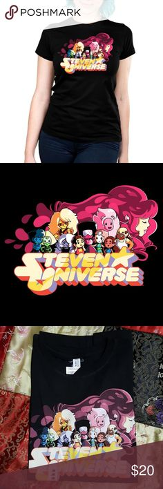 Steven Universe Teeturtle Fitted Junior T-shirt M This is an officially licensed Cartoon Network shirt of Steven Universe! Featuring Steven Universe, Pearl, Garnet, Amethyst, Lapis Lazuli, Peridot, Jasper, Connie Maheshwaren, Greg Universe, Lion, and Rose Quartz. The shirt is brand new and still has the sticker on it. This is a fitted shirt. Teeturtle Tops Tees - Short Sleeve