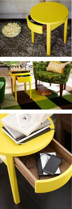 STOCKHOLM nightstand - beyond the bedroom. This nifty table with hidden drawer, is perfect for the living room as well.