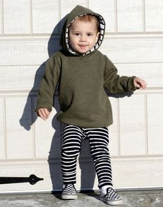 This listing is for one Olive Green Hoodie with White Stripe inner hood liner. Toddler Fashion, Toddler Outfits, Boy Fashion, Winter Fashion, Olive Green Hoodie, Green Sweater, Hooded Sweater, Sweater Shirt, Bebe Shirts