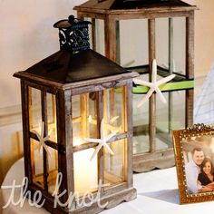 Lantern Decor with large lantern to hold cards