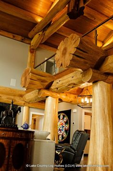Handcrafted Flared Character Butt Western Red Cedar Post and Beam Log Home