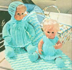 Vintage Knitting Pattern Knit Doll Clothes Outfits Complete Layette For 12 16 Inch Dolls 8 Pieces PD Knitting Dolls Clothes, Crochet Doll Clothes, Knitted Dolls, Doll Clothes Patterns, Doll Patterns, 12 Inch Doll Clothes, Baby Doll Clothes, Baby Dolls, Baby Knitting Patterns