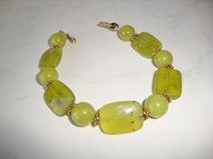 Lime Green Stone Bead Large Chunky Bracelet by CoastalCreationz, $8.00