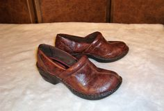 Canyon River Blues Sz 6.5 Brown Tooled Leather Clogs Loafers #CanyonRiverBlues #Clogs