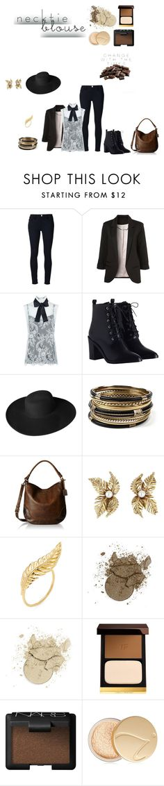 """""""Trend to Try: Necktie Blouse"""" by mya-zari ❤ liked on Polyvore featuring Frame Denim, WithChic, Philosophy di Lorenzo Serafini, Zimmermann, Dorfman Pacific, Amrita Singh, Frye, Jacquie Aiche, Tom Ford and NARS Cosmetics"""