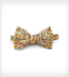 Mustard Floral Bow Tie | Self-tie, adjustable bow tie in 100% cotton; Fits neck sizes 1... | Ties