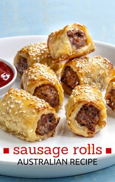 This simple sausage roll recipe is perfect to whip up for a party or BBQ when tasty finger food is in order! These Pork and Fennel Sausage Rolls are best served with our sugar-free Homemade Tomato Sauce. Aussie Food, Australian Food, Australian Recipes, Australian Sausage Rolls Recipe, Recipe For Sausage Rolls, Homemade Sausage Rolls, Curtis Stone Recipes, Tapas, Ma Baker