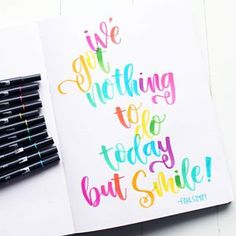 I've got nothing to do today but smile! This is the perfect quote for Rainbow Lettering in Tombow Dual Brush Pens on the dotted pages of a Passion Planner. Flower Tutorial, Diy Tutorial, Spray Paint Frames, Resin Spray, Rolled Paper Flowers, Coffee Filter Flowers, Tombow Dual Brush Pen, Printable Labels, Printables
